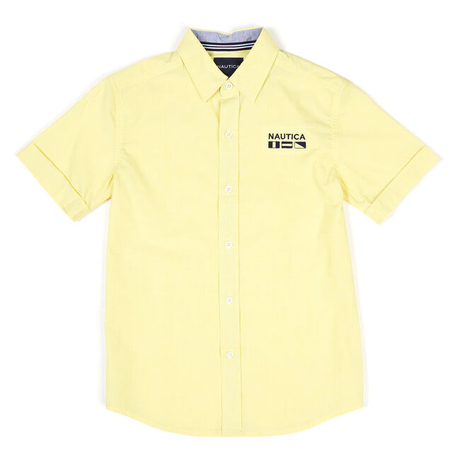 Boys' Short Sleeve Stretch Button Down (8-20),Firefly,large