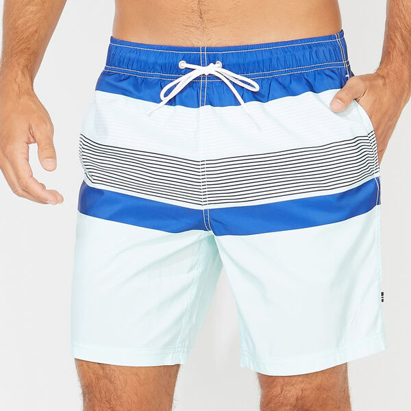 "8"" STRIPED COLORBLOCK SWIM TRUNKS - Aquabreeze"