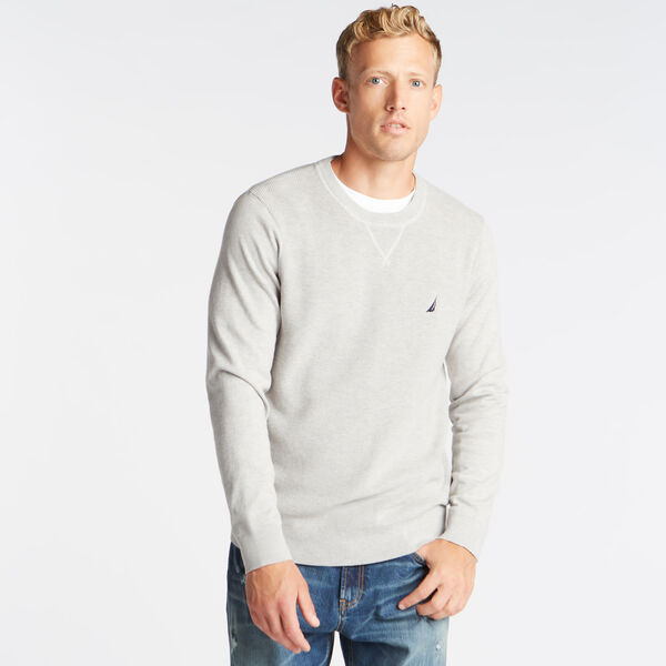 CREWNECK RIBBED FRONT SWEATER - Grey Heather