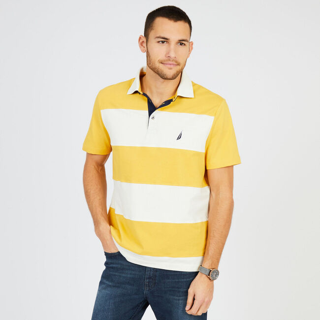 Short Sleeve Classic Fit Rugby Stripe Polo Shirt ,Sunfish,large