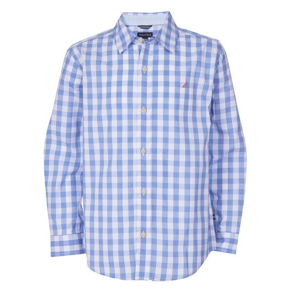 TODDLER BOYS' SKYLAR GINGHAM WOVEN SHIRT (2T-4T) - Azure Blue