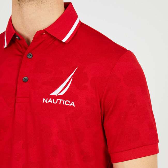 Short Sleeve Classic Fit Camo Navtech Polo,Nautica Red,large