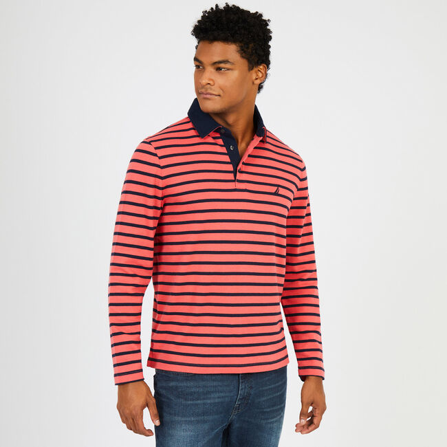 Sailor Stripe Long Sleeve Classic Fit Polo,Sailor Red,large