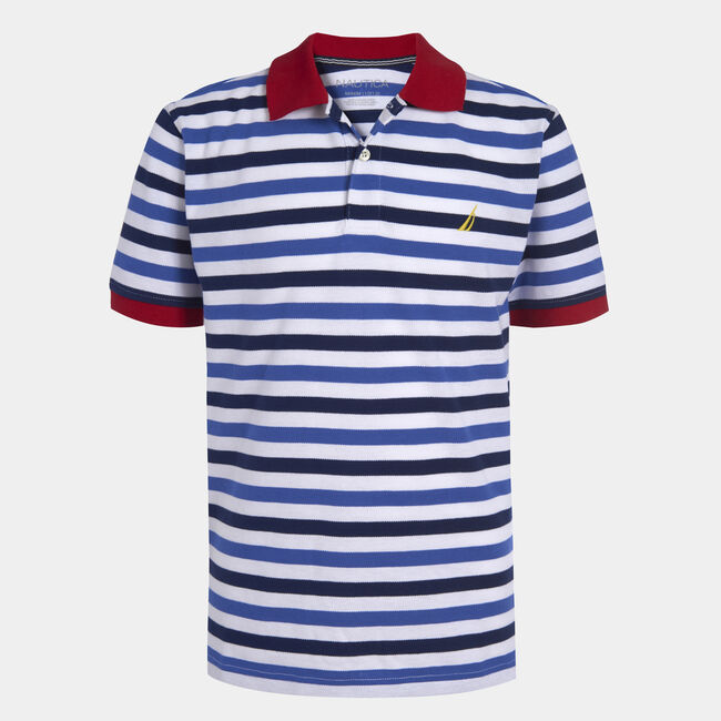 BOYS' PAUL STRIPED POLO (8-20),J Navy,large