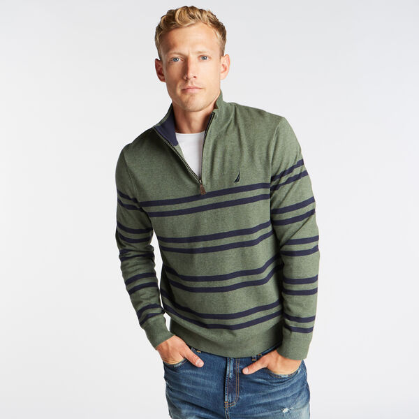 QUARTER ZIP BRETTON STRIPED SWEATER - Pine Forest Heather