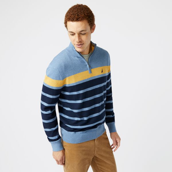 NAVTECH COLORBLOCK-STRIPED QUARTER-ZIP SWEATER - Anchor Blue Heather