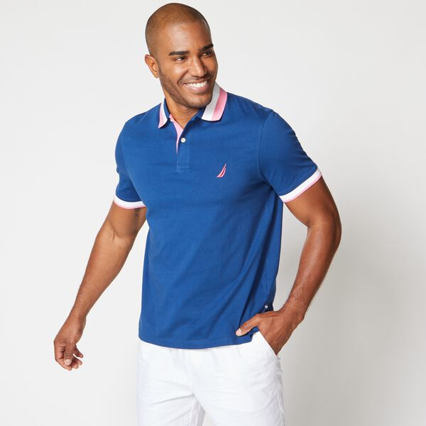 BIG & TALL STRIPED COLLAR POLO - Estate Blue