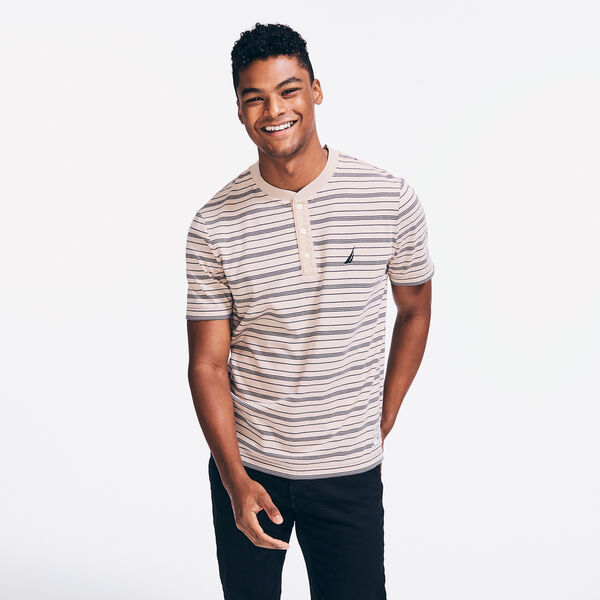 SUSTAINABLY CRAFTED STRIPED SHORT SLEEVE HENLEY - Oxford Tan