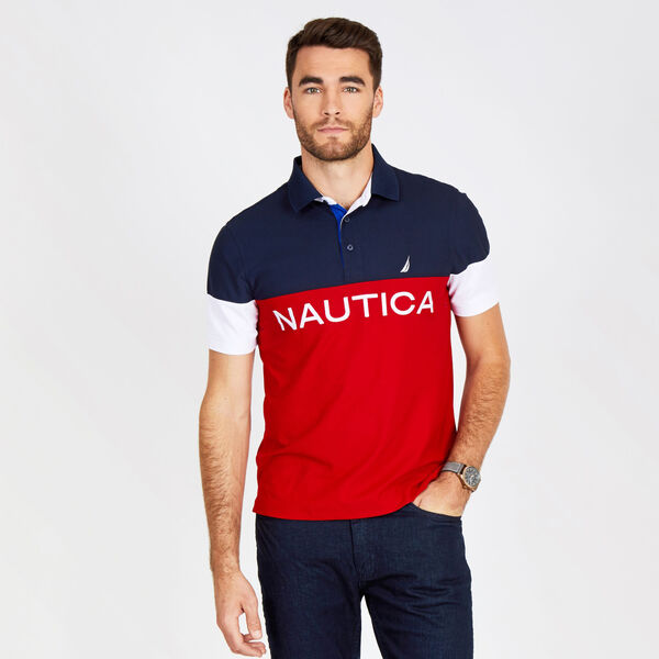 Big & Tall Logo Navtech Pique Classic Fit Polo - Nautica Red