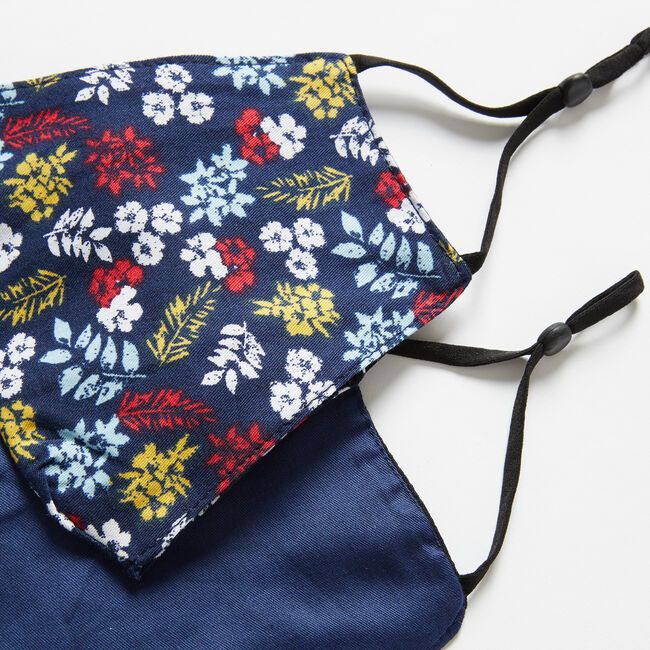 FLORAL PRINT AND SOLID REUSABLE FACE MASK, 2 PACK,Navy,large