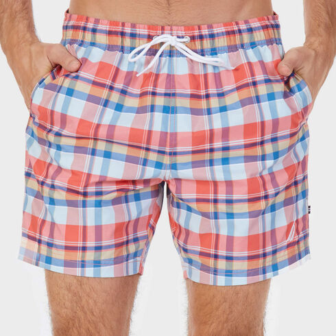 Quick-Dry Madras Plaid Full-Elastic Swim Shorts - Spiced Coral