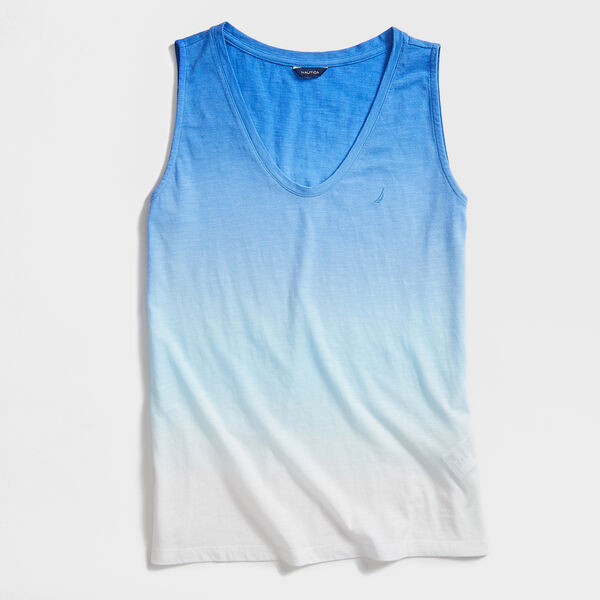 TIE DYE SLEEVELESS  KNIT TOP - Reef Blue