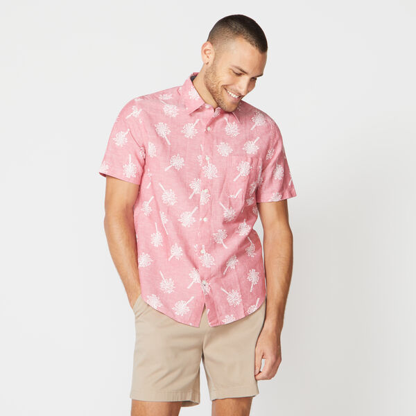 CLASSIC FIT TROPICAL PRINT LINEN SHIRT - Sailor Red