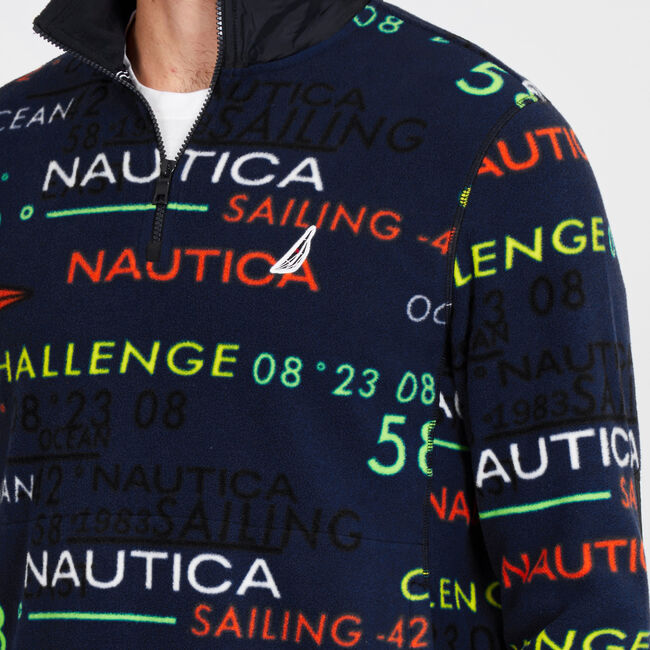 Quarter-Zip Long Sleeve Graphic Pullover,Navy,large