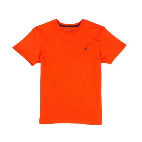 Boys' Strait Anchor V-Neck Solid Tee (8-20) - Orange Glade