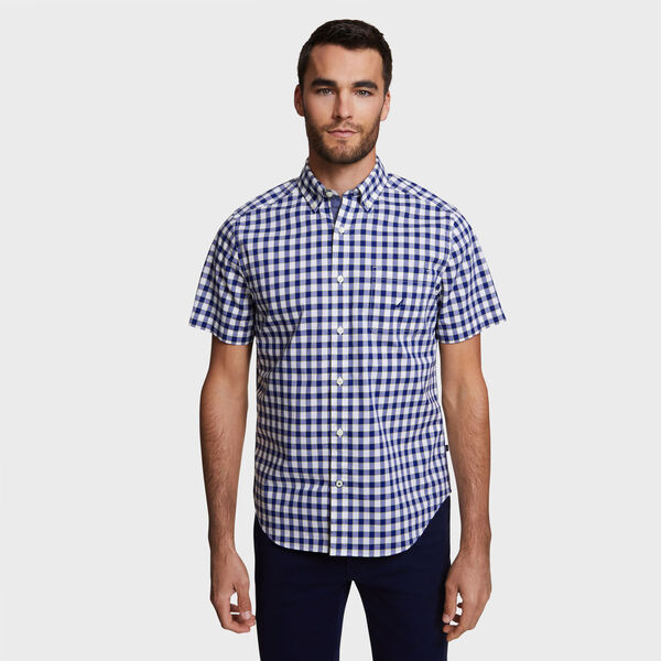 Classic Fit Stretch Short Sleeve Shirt in Gingham - Blue Depths