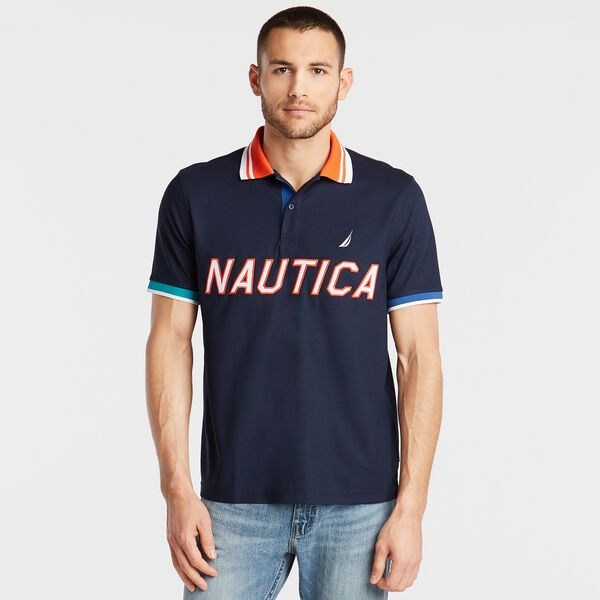 CLASSIC FIT LOGO HYDRO PIQUÉ POLO - Navy