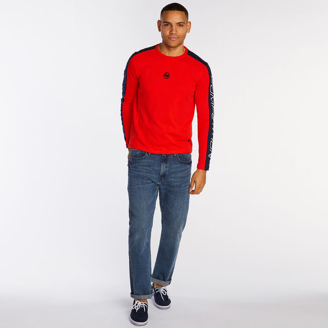 Competition Long Sleeve Crewneck T-Shirt,Firey Red,large
