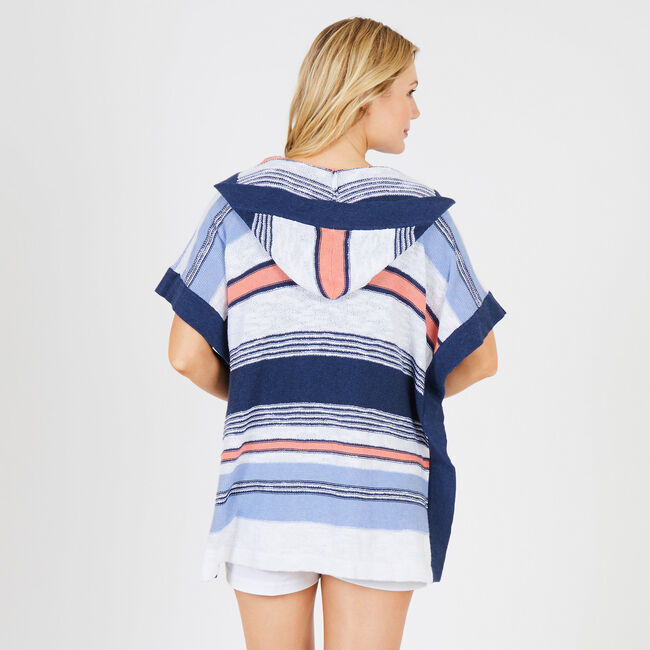 Multi-Stripe Side Slit Hooded Poncho,Bright White,large