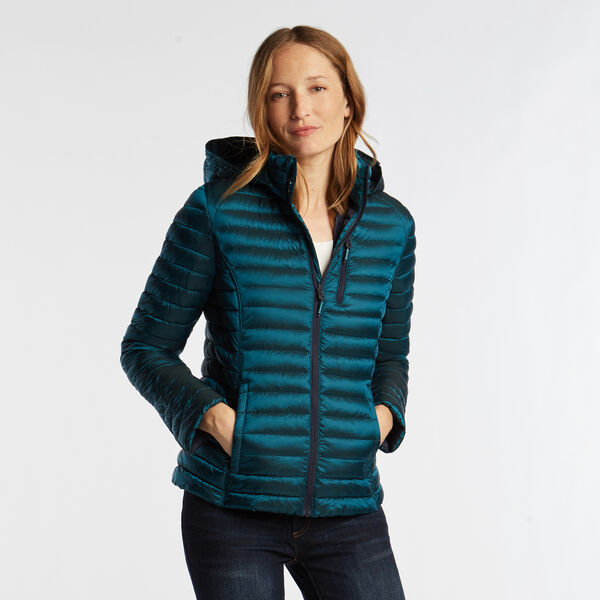 WOMEN'S QUILTED PACKABLE COAT - Biscayteal
