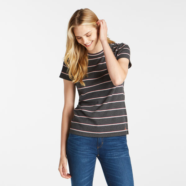 STRIPED RIBBED TOP - Dark Black Heather