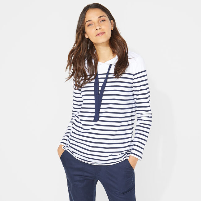 STRIPE PULLOVER HOODIE,Bright White,large