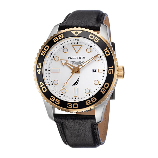 PACIFIC BEACH STAINLESS STEEL AND LEATHER WATCH - Multi