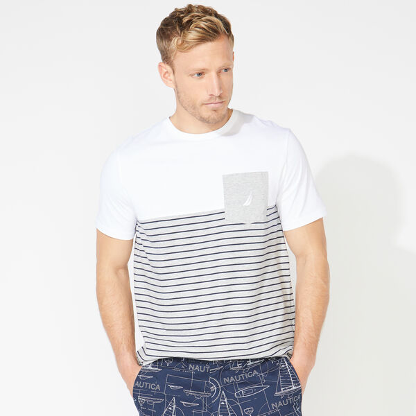 STRIPED COLORBLOCK POCKET TEE - Grey Heather