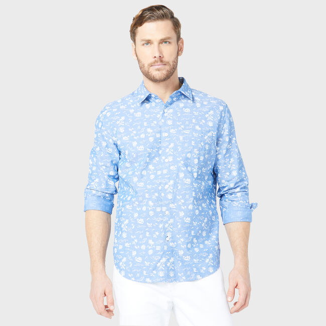 CLASSIC FIT TROPICAL PRINT CHAMBRAY SHIRT,Clear Sky Blue,large