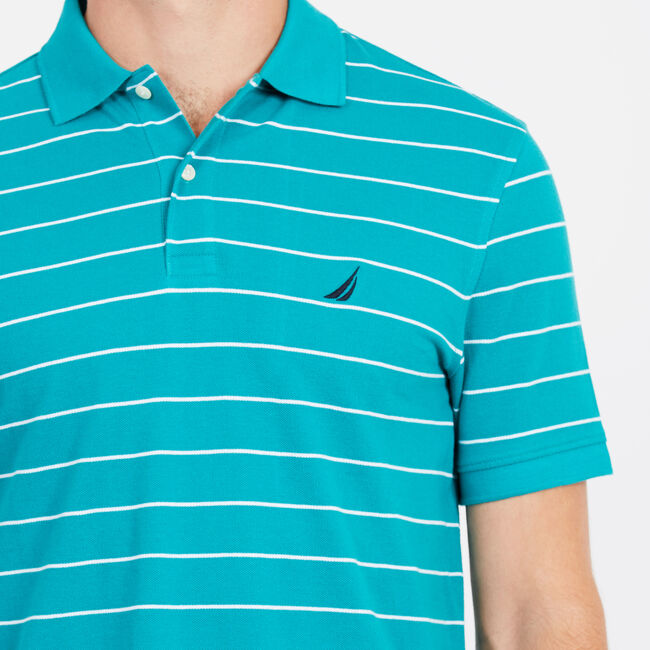 Classic Fit Mesh Polo in Breton Stripe,Biscay Teal,large
