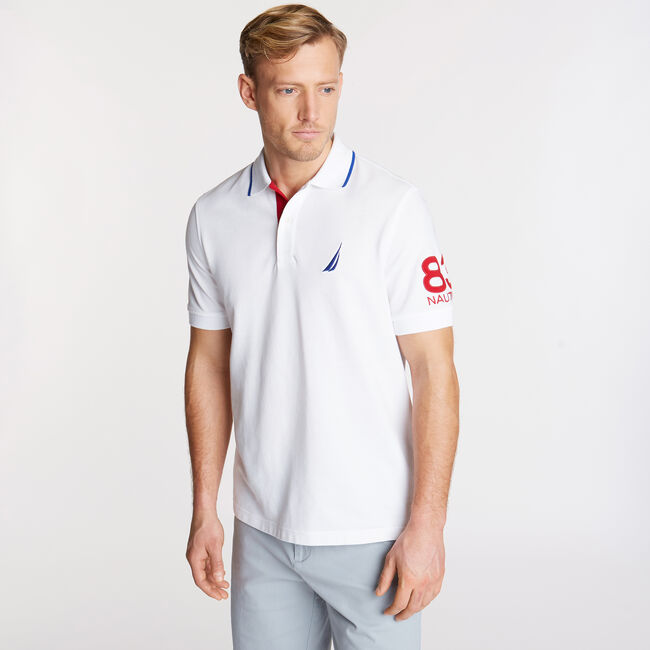 Classic Fit Logo Mesh Polo,Bright White,large