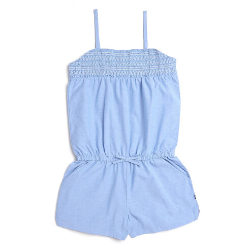 Girls' Chambray Romper With Decorative Smocking (7-16) - Bright Cobalt