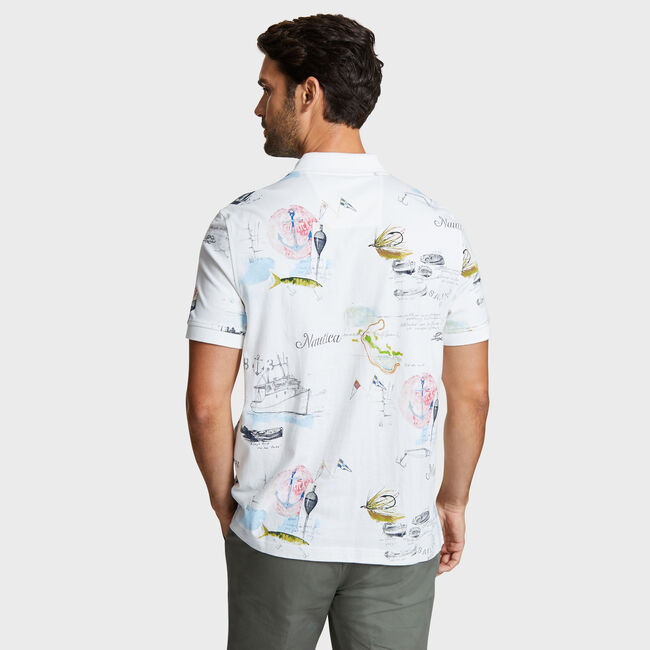 Artist Series Map Print Polo in Classic Fit,Sail White,large