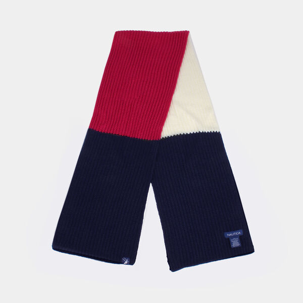 KIDS' COLORBLOCK LOGO KNIT SCARF - Crystal Bay Blue