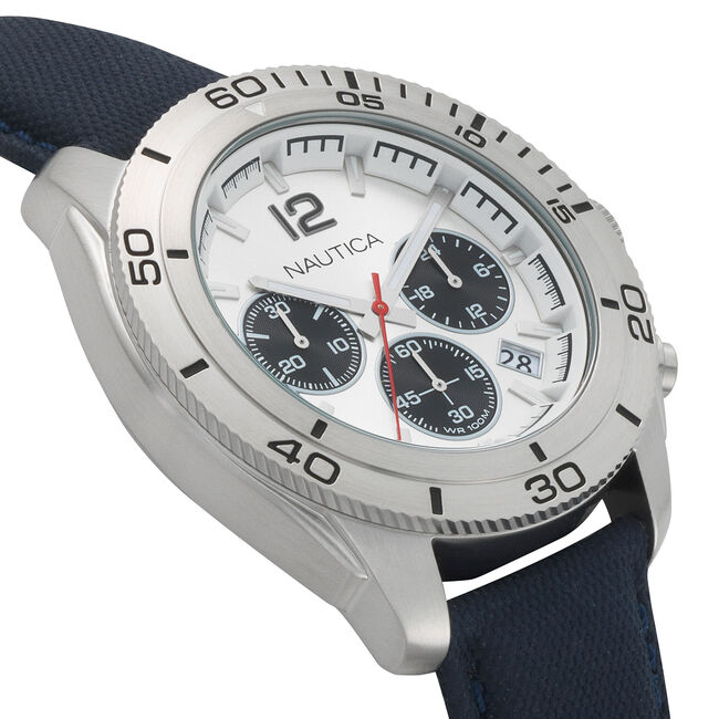 Andover Chronograph Silver Dial Watch - Navy,Multi,large