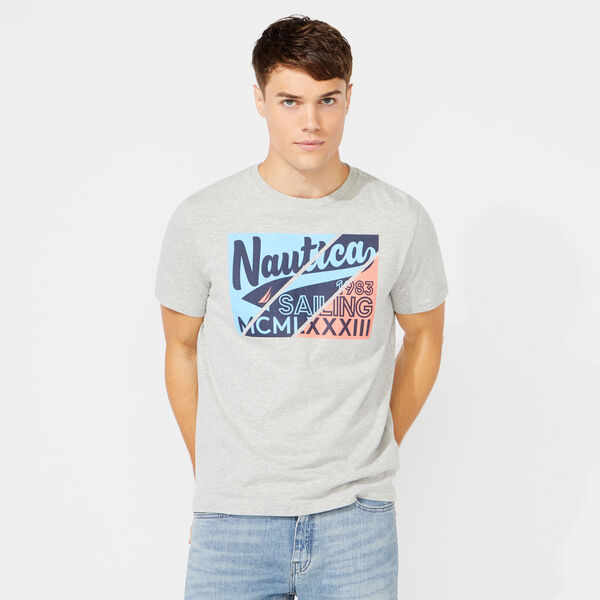 DIAGONAL SQUARE GRAPHIC T-SHIRT - Grey Heather