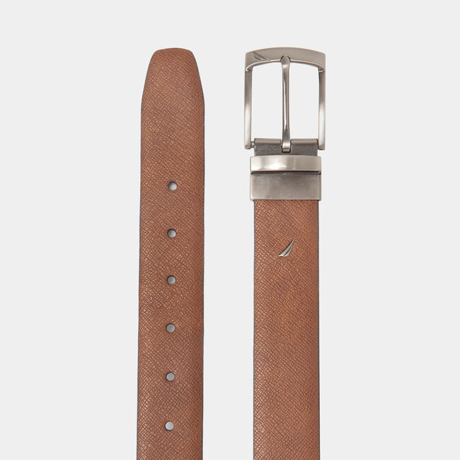 REVERSIBLE SAFFIANO LEATHER DRESS BELT,Military Tan,large