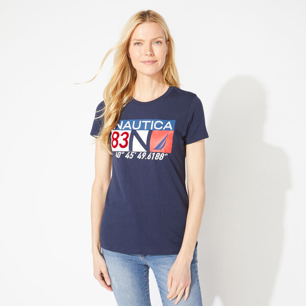 NAUTICA 83 CHEST LOGO TEE - Stellar Blue Heather