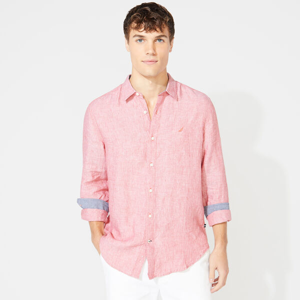 CLASSIC FIT LINEN SHIRT - Mineral Red