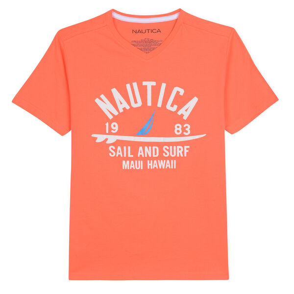 BOYS' SEAN V-NECK T-SHIRT IN SURF & SAIL GRAPHIC (8-20) - Oxblood Red