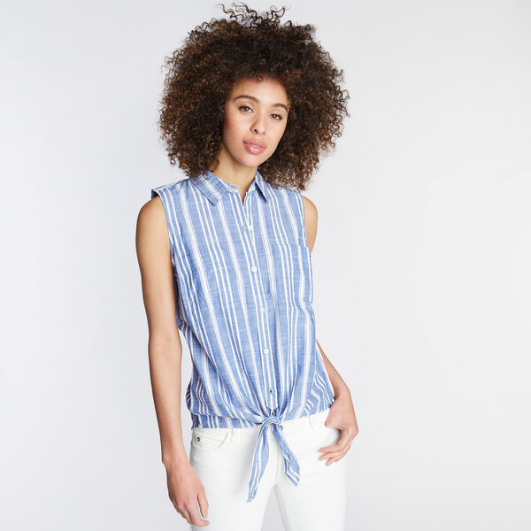 SLEEVELESS WOVEN SHIRT IN VARIGATED STRIPE - Bayberry Blue