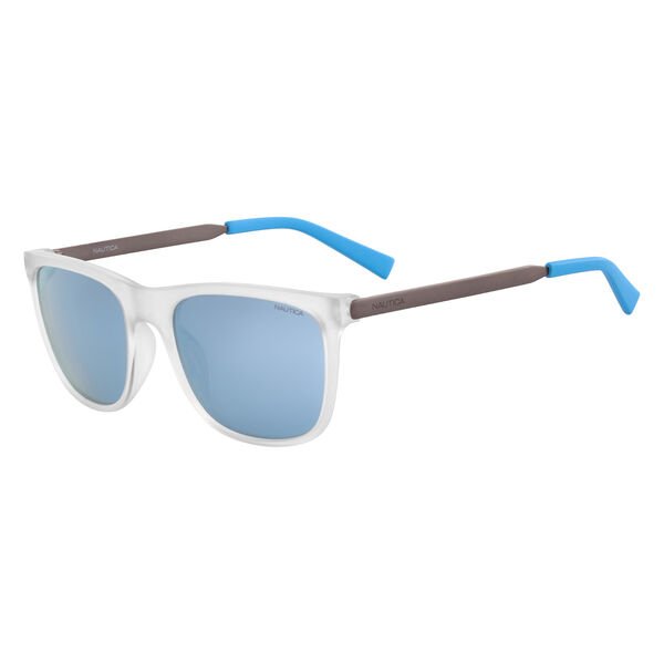 Rectangular Sunglasses with Matte Frame - Light Wash Distress