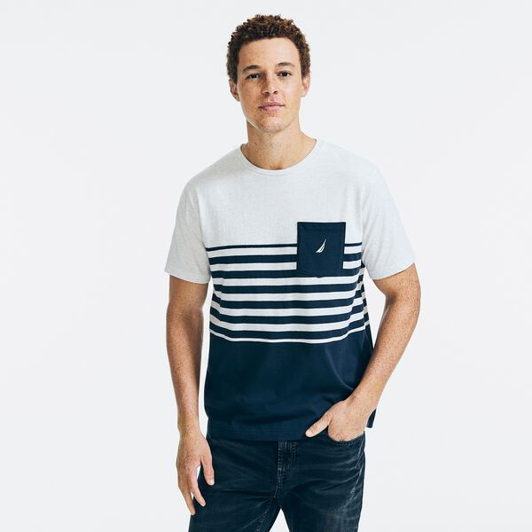 SUSTAINABLY CRAFTED COLORBLOCK STRIPED POCKET T-SHIRT - Snow Heather