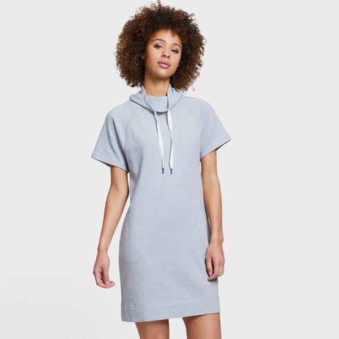 SHORT SLEEVE FUNNEL NECK KNIT DRESS - Fog