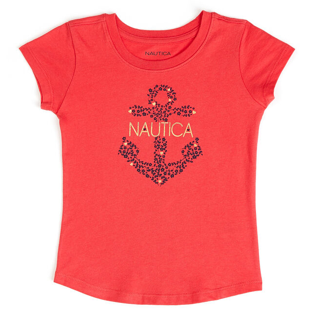 Little Girls' Floral + Anchor Crewneck Tee (4-6X),Glory Red,large