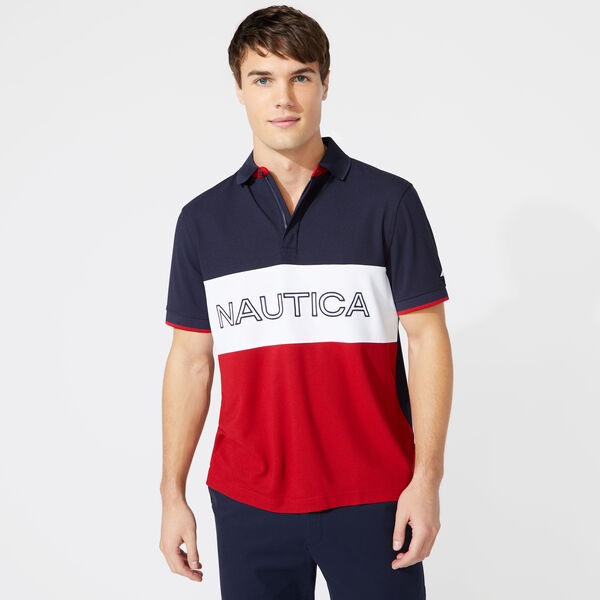 CLASSIC FIT COLORBLOCK LOGO POLO - Navy