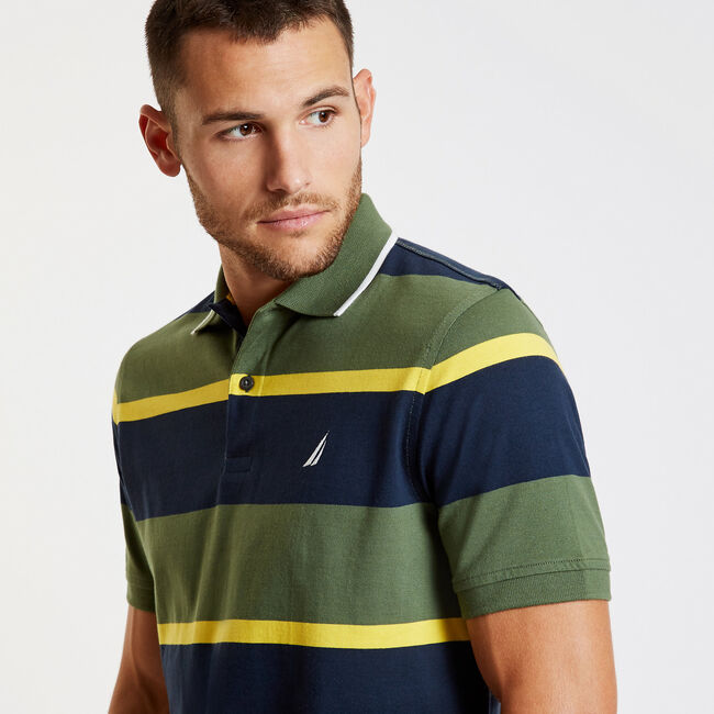 Striped Classic Fit Short Sleeve Polo,Green Glow,large