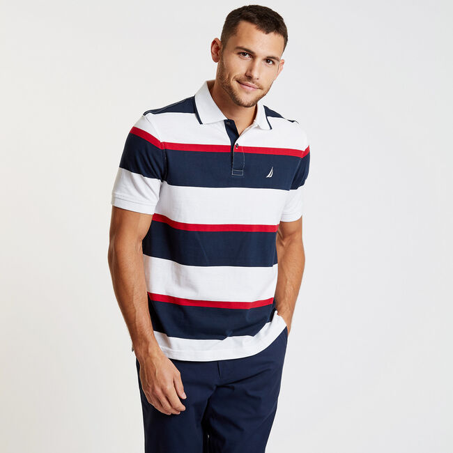 Striped Classic Fit Short Sleeve Polo,Bright White,large