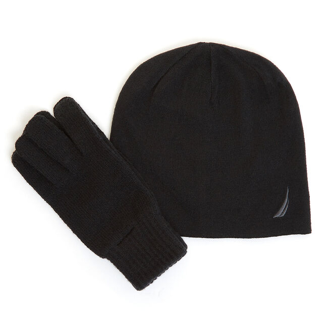 Hat & Gloves Gift Set,Black,large
