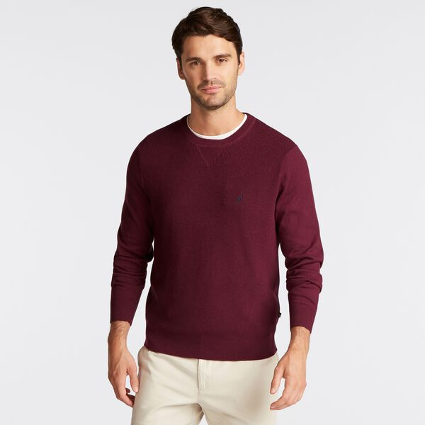 NAVTECH RIBBED FRONT SWEATER - Royal Burgundy